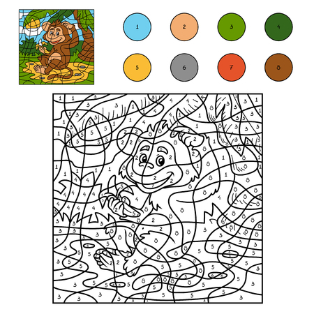 Color by number, game for children: monkey animal with a banana