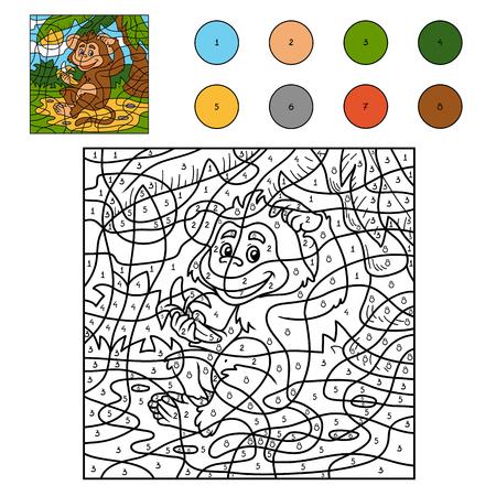 landschap: Kleur van het aantal, spel voor kinderen: aap dier met een banaan Stock Illustratie
