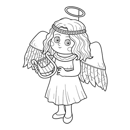 children of heaven: Coloring book game for children: Halloween characters (angel)