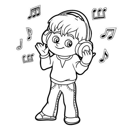 listener: Coloring book for children: little boy listening to music on headphones