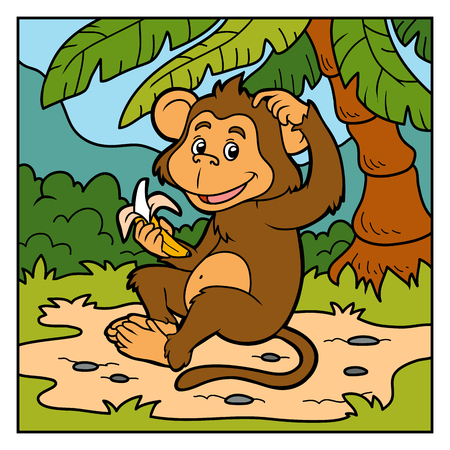 bush babies: Vector color illustration for children (little monkey with a banana)