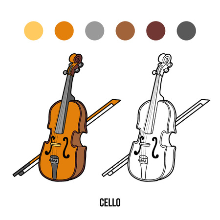 children book: Coloring book for children, education game: musical instruments (cello) Illustration