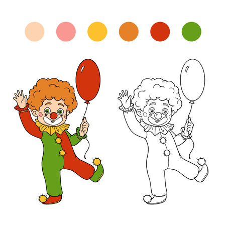 cartoon child: Coloring book for children: Halloween characters (clown and balloon)