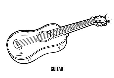 music book: Coloring book for children, education game: music instruments (guitar) Illustration