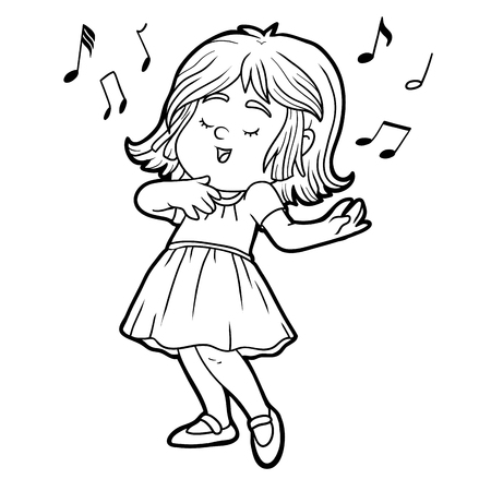 note book: Coloring book for children: little girl in a red dress is singing a song