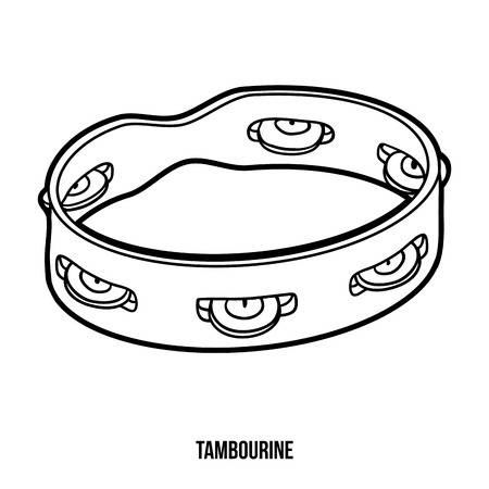 tambourine: Coloring book for children, education game: musical instruments (tambourine)