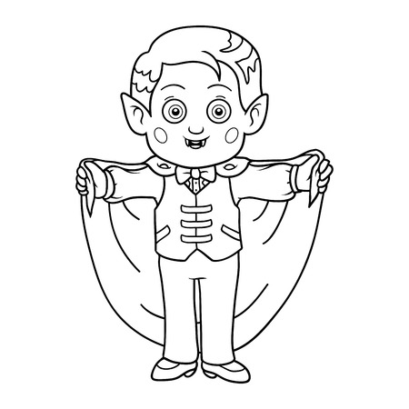 undead: Coloring book for children: Halloween characters (vampire, boy)
