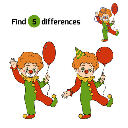 Find differences game for children: Halloween characters (clown)