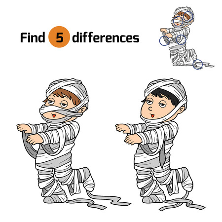 various: Find differences game for children: Halloween characters (mummy) Illustration