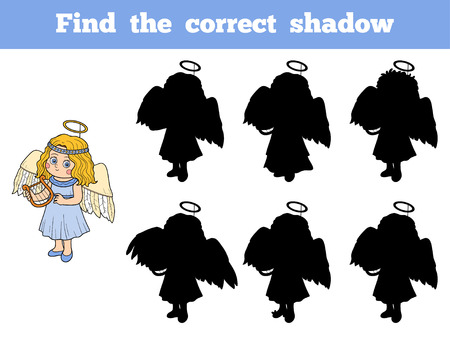 preschool: Find the correct shadow: Halloween Characters (girl, little angel) Illustration