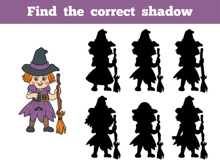 silueta niño: Encuentra la sombra correcta, juego para los niños: Carácter de Halloween (brujas) Vectores