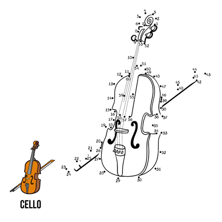 connects: Numbers game for children, education game: musical instruments (cello) Illustration