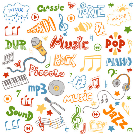 tone: Vector set of hand drawn doodles on music theme. Color music symbols and words