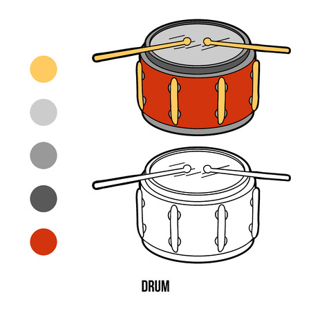 children book: Coloring book for children, education game: music instruments (drum)