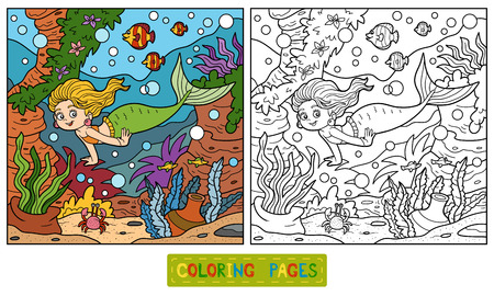 Coloring book for children: little mermaid and sea world