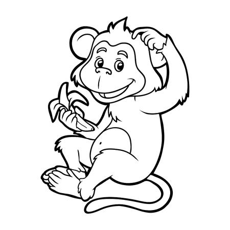 子供のための塗り絵: バナナと猿  イラスト・ベクター素材