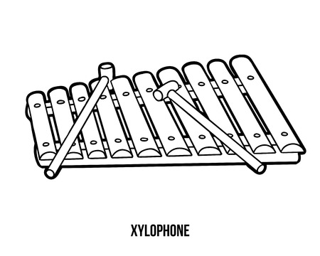 music book: Coloring book for children: musical instruments (xylophone) Illustration