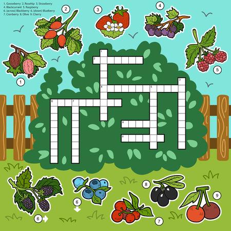 crossword: Vector color crossword, education game for children about berries