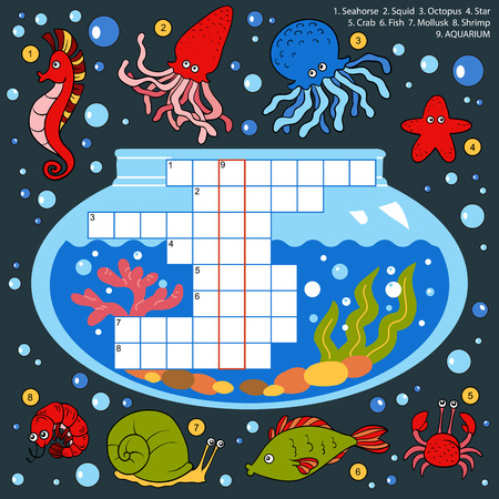 underworld: Vector color crossword, education game for children about fish Illustration
