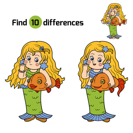 mermaid: Find differences for children: Halloween characters (girl in a mermaid costume)