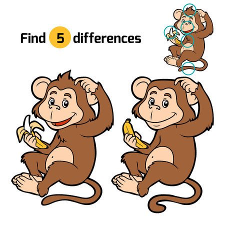 marmoset: Game for children: find differences (little monkey with a banana)