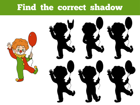 cartoon clown: Find the correct shadow, game for children: Halloween Characters (clown)