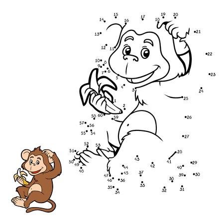 banana caricatura: Números de juegos para niños: pequeño mono con un plátano