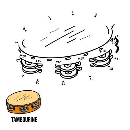 tambourine: Numbers game for children, education game: musical instruments (tambourine)