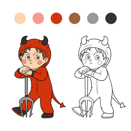 child studying: Coloring book, game for children: Halloween character (devil)