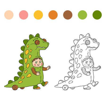 black boys: Coloring book for children: Halloween characters (dinosaur costume)