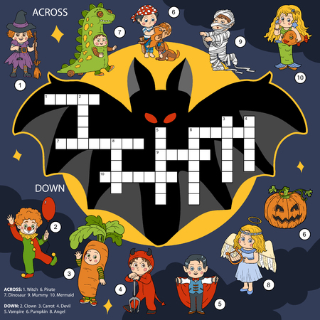 cartoon vampire: Vector color crossword, education game for children about Halloween Illustration