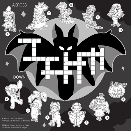alphabet kids: Vector color crossword, education game for children about Halloween Illustration