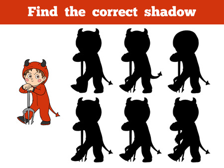 correct: Find the correct shadow, game for children: Halloween character (devil) Illustration