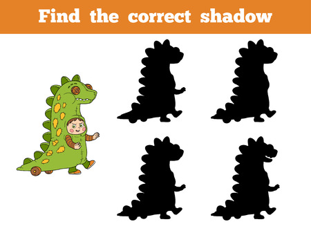 correct: Find correct shadow, game for children: Halloween characters (dinosaur costume) Illustration