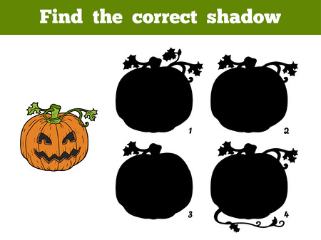 find answers: Find correct shadow, game for children: Halloween pumpkin Illustration