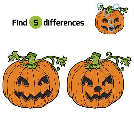 differences: Find differences, game for children: Halloween pumpkin Illustration