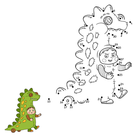 game boy: Numbers game for children: Halloween characters (dinosaur costume) Illustration