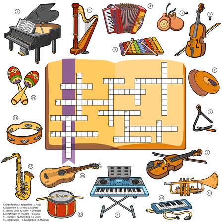 crosswords: Vector color crossword, education game for children about music instruments