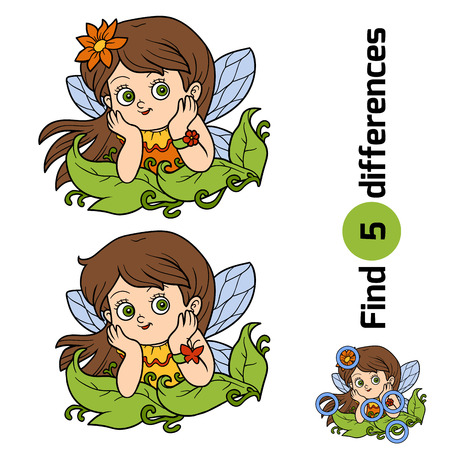 pixy: Find differences, game for children: little fairy girl