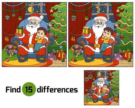 game play: Find differences, education game: Santa Claus gives a gift a little boy