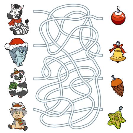 Doolhof onderwijs spel voor kinderen: kleine dieren en kerstversieringen