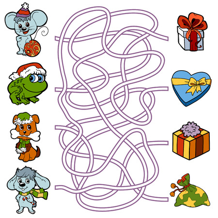 Maze education game for children: little animals and Christmas gifts