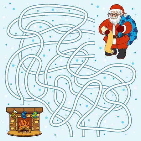 brandweer cartoon: Winter doolhof spel voor kinderen: De Kerstman en open haard