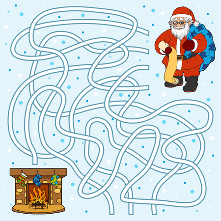 cartoon fireplace: Winter maze game for children: Santa Claus and fireplace Illustration