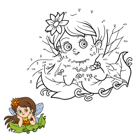 white color: Numbers game for children: little fairy girl