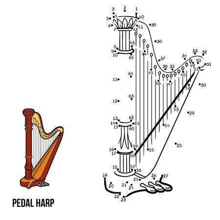 Números juego para los niños instrumentos musicales (arpa de pedal)