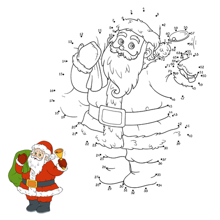 children santa claus: Numbers game for children: Santa Claus and bell