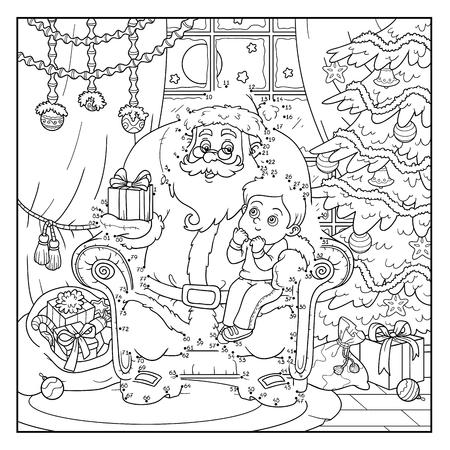 children santa claus: Numbers education game for children: Santa Claus gives a gift a little boy Illustration