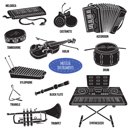 castanets: Shadow set with musical instruments, vector cartoon collection for children