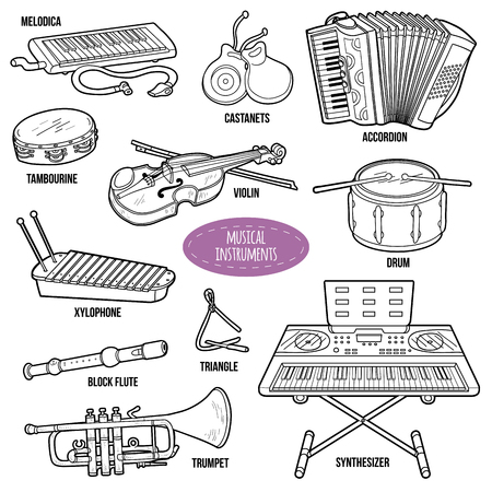 music book: Colorless set with musical instruments, vector cartoon collection for children Illustration